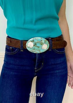 HUGE RARE Vintage Navajo Native American Sterling Silver Turquoise Belt Buckle