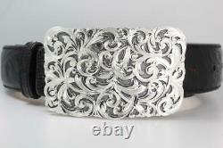 Handmade Sterling Silver (. 925) Cowboy Trophy Belt Buckle (Made in Texas)