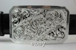Handmade Sterling Silver (. 925) Cowboy Trophy Belt Buckle (Made in Texas)