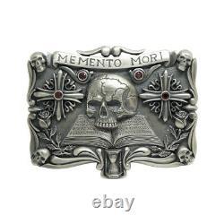 Handmade Sterling Silver Skull Mens Biker Belt Buckle Masonic emento mori