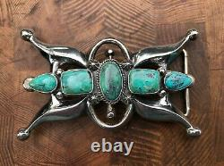 Harrison Bitsui Navajo Sterling Silver Cast Belt Buckle With 5 Turquoise Overlay
