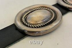 Heavy 10+ozt Navajo CONCHO BELT buckle Sterling Silver Patania Repousse style