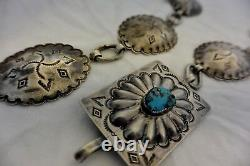 Heavy 6+ozt Navajo Link CONCHO BELT Turquoise DEEP STAMP Sterling Silver buckle
