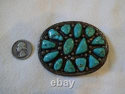 Heavy Vintage NAVAJO Hand Stamped Sterling Silver TURQUOISE Cluster BELT BUCKLE