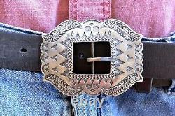 Heavy & XL Adrienne Teeguarden Sterling Silver TAOS Navajo Revival BELT BUCKLE