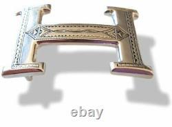 Hermes Argent Massif Sterling Silver AG 925 Touareg Belt Buckle H 32mm, Mint