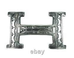 Hermes Womens Vintage Sterling Silver 925 TOUAREG H Belt Buckle 2.5 Inch Width