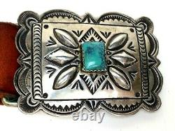 J Blackgoat Navajo Sterling Silver Turquoise Belt Buckle withLeather Belt Small