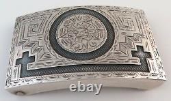 Jalisco Vintage Sterling Silver Aztec Sun Stone Quality Western Belt Buckle