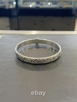 James Avery Sterling Silver Floral Belt Buckle Bangle Bracelet Retired