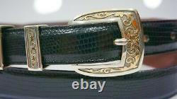 James Reid Sterling Silver. 925 14k Gold Floral Ranger Belt Buckle 38 Lizard