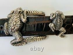 Jeff Deegan Sterling Silver. 925 Frog Belt Buckle Set Horny Toad