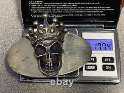 King Baby Studio Sterling Silver Vintage Crowned Skull Belt Buckle
