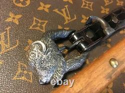 Kokopelli Design Silver Buckle and Tip on Alligator Belt sz 30 Buffalo head
