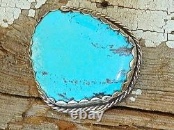 LARGE MORENCI Turquoise 100 CTS 55mm x 50mm Sterling Silver Western Belt Buckle