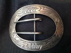 Large 4 Antique Art Nouveau Sterling Silver Belt Buckle