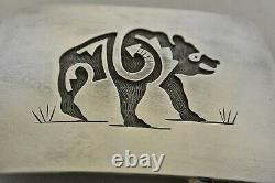 Large HARLAN JOSEPH Hopi BELT BUCKLE Grizzly Bear Sterling Silver Overlay