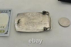 Large ROBERT (BOB) LOMADAPKI HOPI BELT BUCKLE Abstract Wave Sterling Silver