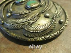 Large VERY OLD Pawn Navajo Sterling Silver ROYSTON Turquoise Belt Buckle