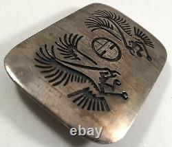 Leon Damon Vintage Native Indian Sterling Silver Dual Eagle Belt Buckle
