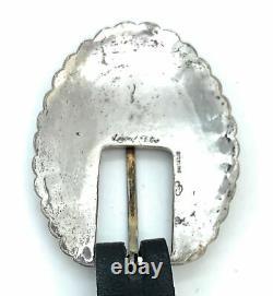 Leonard Platero Vintage Navajo Onyx Inlay Sterling Silver Ranger Belt Buckle Set