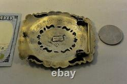 Lg EUGENE CHARLEY NAVAJO CONCHO BELT BUCKLE Sterling Silver EXCEPTIONAL STAMPING