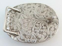 MASSIVE Sterling Silver & Agate 140 G Ornate Western Belt Buckle