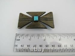 Maltese cross Native American VTG sterling silver Belt Buckle with Turquoise 60s