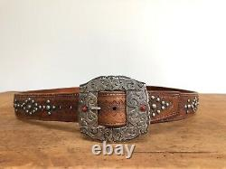 Mario Hanel Studded Leather Belt With Sterling Silver & Coral Buckle Western VTG