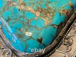Massive Turquoise Belt Buckle Sterling Silver Peyote Blossom Accents Huge Navajo