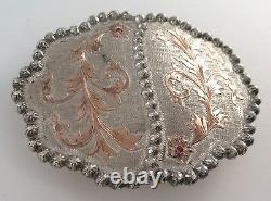 Massive Vogt Sterling Silver & 10K Gold 105g Ornate Western Belt Buckle