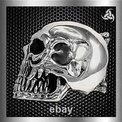 Mens Biker King Skull Belt Buckle Sterling Silver Premium Handcrafted