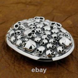 Mens Biker Skull Buckle 925 Sterling Silver Punk Belt Buckle 9C006A DIY Access