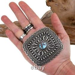 NAVAJO Concho BELT BUCKLE Sterling Silver Golden Hill Turquoise Tsosie White