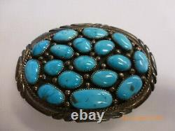 Native American Navajo Sterling Silver Turquoise Cluster Belt Buckle