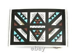 Native American Sterling Silver Handmade Multicolor Zuni Belt Buckle