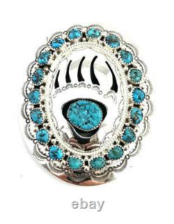 Native American Sterling Silver Navajo Bear Paw Turquoise Belt Buckle