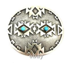 Native American Sterling Silver Navajo Handemade San Cast Turquoise Belt Buckle
