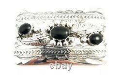 Native American Sterling Silver Navajo Handmade Black Onyx Belt Buckle