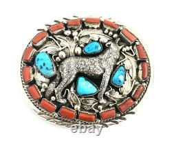 Native American Sterling Silver Navajo Handmade Turquoise And Coral Belt Buckle