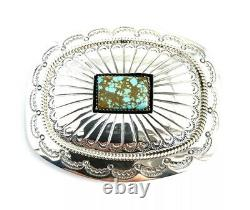 Native American Sterling Silver Navajo Shadow Box Design Turquoise Belt Buckle