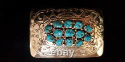 Native Navajo Handmade Turquoise Belt Buckle Sterling Silver -Julia Slinkey