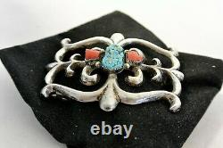 Navajo BELT BUCKLE TUFA SAND CAST Sterling Silver with 2 CORAL & TURQUOISE-KETOH