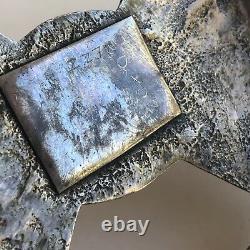 Navajo Belt Buckle Natural Turquoise Sandcast Sterling Silver VTG 88g 1960s