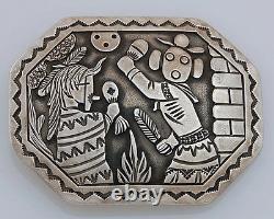Navajo Large Overlay Sterling Silver Belt Buckle Native American Handmade