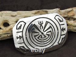 Navajo Man in the Maze Sterling Silver Overlay Belt Buckle by Sonny Gene