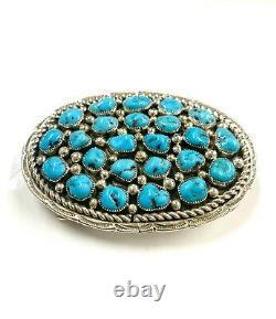 Navajo Native Turquoise Sterling Silver Handmade Belt Buckle By Darlene Begay