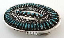 Navajo Nelson Morton Sterling Silver & Turquoise Needlepoint Belt Buckle