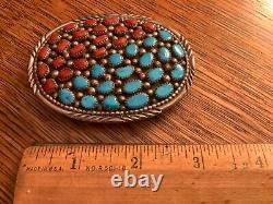 Navajo Signed Irving Chee Sterling Silver Turquoise Coral Cluster Belt Buckle