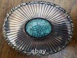 Navajo Sterling Silver. 925 Belt Buckle Turquoise Spiderweb Pattern Vintage
